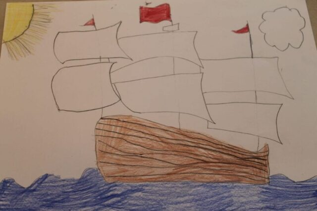 drawing Columbus's ship