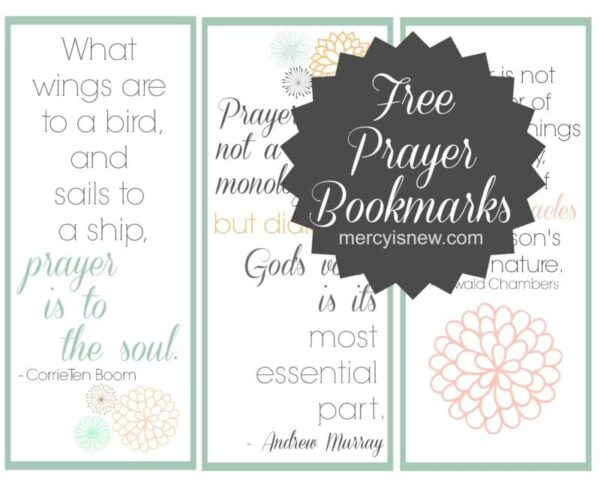 FREE Prayer Bookmarks graphic