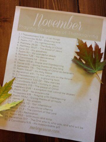 Praying Scriptures of Thanksgiving
