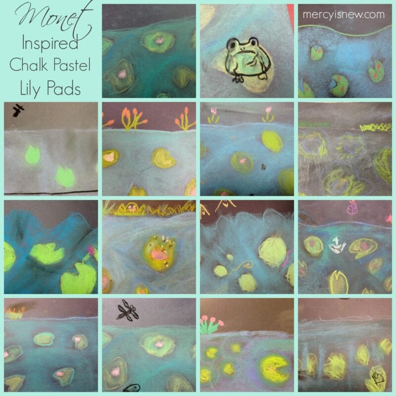 Monet Inspired Chalk Pastel Lily Pads @mercyisnew.com