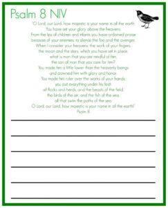 Psalm 8 copywork