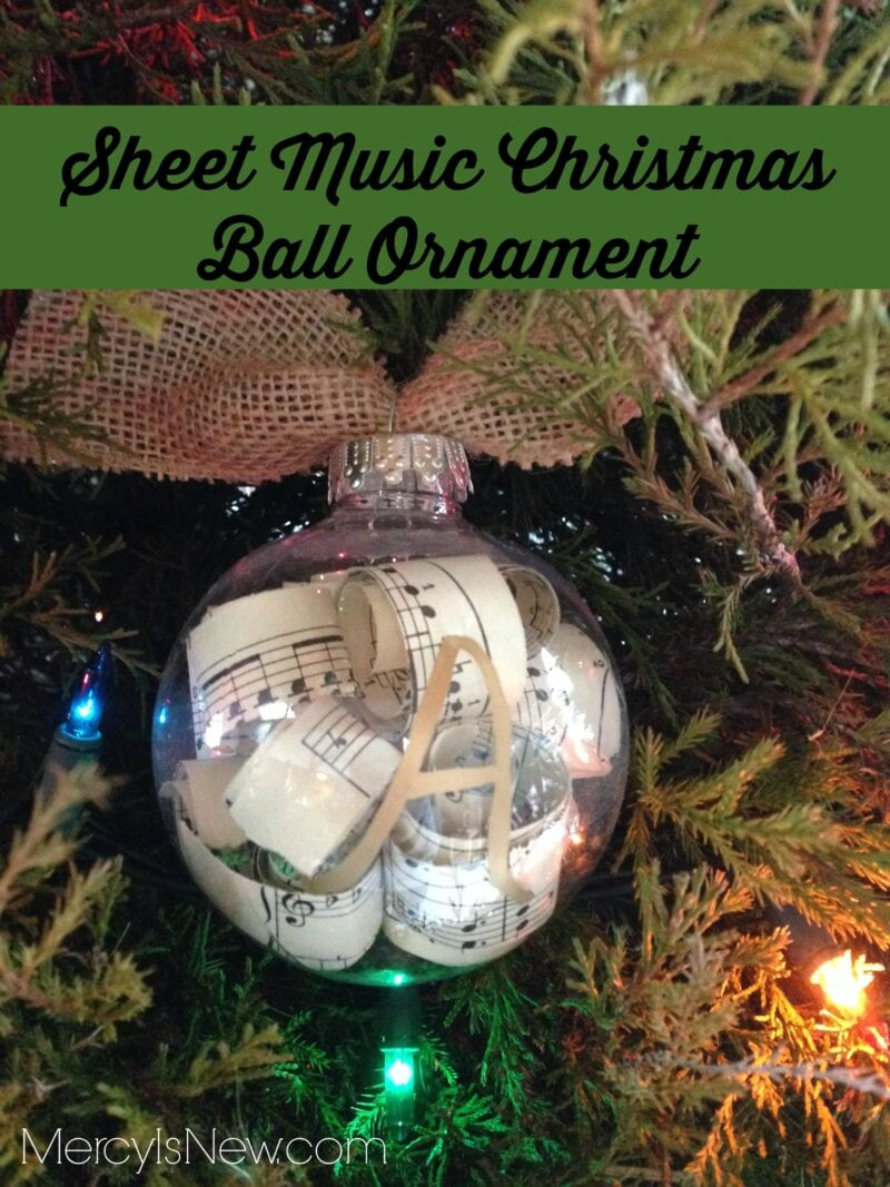 Sheet Music Christmas Ball Ornament – His Mercy is New