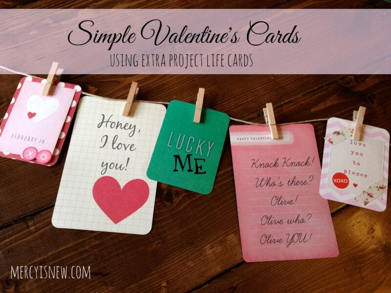 Simple Valentine's Cards {using EXTRA Project Life cards} @mercyisnew.com