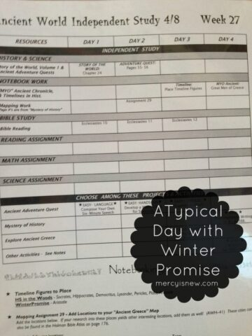 A typical day with Winter Promise {Sample Student Weekly Sheet} @mercyisnew.com