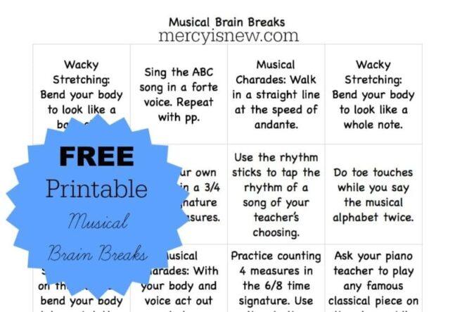 Free Printable Musical Brain Breaks