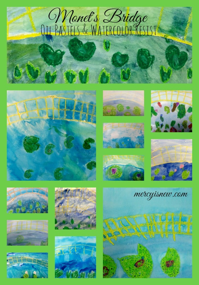 Monet's Bridge with Oil Pastels & Watercolors @mercyisnew.com
