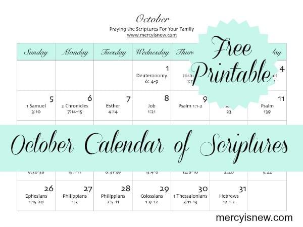 FREE printable calendar to Pray for Family