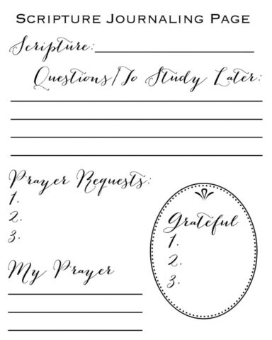 graphic regarding Printable Bible Journal Pages referred to as Scripture Journaling Web page Free of charge Printable