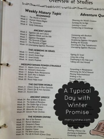 Typical Day with Winter Promise {Weekly Topics} @mercyisnew.com