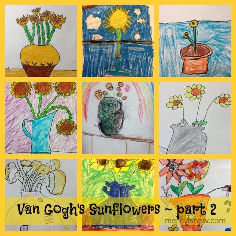 Van Gogh's Sunflowers Art Lesson Part 2 @mercyisnew.com