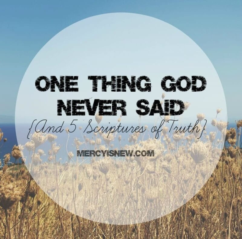 One Thing God Never Said {And 5 Scriptures Of Truth}